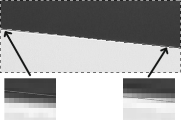 Ошибка измерения угла наклона кромки